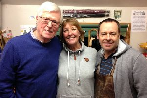 Keith and Jacky Pickering from The Stick Man with TV presenter John Craven.