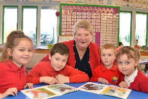 Mrs Croser is pictured with Filey Church of England Nursery and Infants Academy pupils, from left, Gracie-Beau Kennedy, 7; Ryan Sanderson, 7; James Deauville, 6; and Ida Watts, 5.