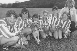 Seamer School girls' football team in May 1996, with teacher Ken Taylor and the team's mascot Molly, from left: Carla Punch, Kayleigh O'Shea, Amy Dove, Katie Rosser, Helene Rosser and Sophie McGovern.