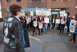Students from various schools gathered in the town centre to protest. However, a group from the UTC were stopped from joining.