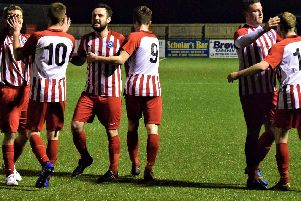 Hunmanby United celebrate their second goal in the 2-1 win against Seamer''Pictures by Simon Dobson