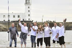 Chefs converge of Scarborough's South Bay for Scarborough's food and drink festival. Chefs Rob Green, Ed Dobson, Andrew Pern, Debbie Raw, Stephanie Moon, Graham Stork and Jeremy Hollingsworth enjoy a dip.
