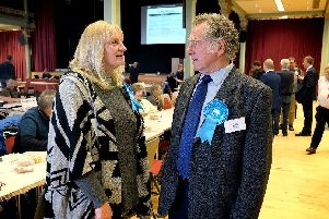 Conservative Cllrs Helen Mallory and John Nock discus the events at the local election count at the Scarborough Spa. pic Richard Ponter