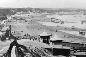 A view of Scarborough's North Bay before the construction of Royal Albert Drive in the late 1880s and opened in 1890..'The carriage road eventually linked up Peasholm Gap with the area in the foreground of the picture which shows the entrance to North Bay Pier at the bottom of Albert Road commonly known as 'Chain Hill'.'Photo reproduced courtesy of the Max Payne collection. 'Reprints can be ordered with proceeds going to local charities. Telephone 0330 1230203 and quote reference number