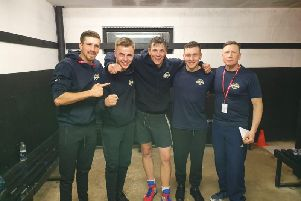 From left, Chance Wedge, Kieran Glave, Sam Mayers, Constantin Costache and coach George Rhodes Sr