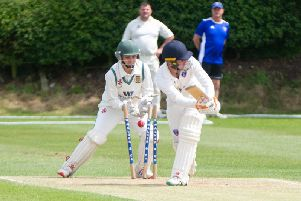 Cayton skipper Jake McAleese is bowled by Tom Norman in Folkton & Flixton's National Village Cup win. Picture by Andy Standing.