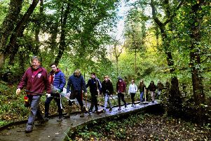 David Bream (left) a Volunteer Task Leader for the North York Moors National Park leadsa group of Bishop Burton College students clearing the boardwalk in 2018. PIC: Gary Longbottom
