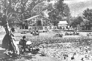 Scarborough Mere pictured in the 1920s was well established as a popular tourist amenity.