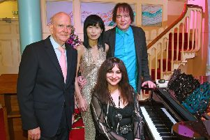 Pictured at the Wesley Centre Malton are Paul Emberley, with Jiaxin Lloyd Webber, Julian Lloyd Webber, and Pam Chowhan. Picture by David Harrison.