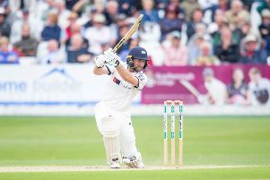Yorkshire's Adam Lyth hits through the covers against Surrey at Scarborough. Picture: Allan McKenzie/SWpix.com