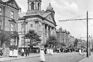 Worshippers in their Sunday best are seen filing out of Westborough Methodist Church in this early 20th century image. The impressive Corinthian-columned church originally named Westborough Wesleyan Chapel had its foundation stone laid in November 1860. The chapel was opened for worship by the Rev John Rattenbury, President of the Wesleyan Conference in April 1862, although the chapel was not actually registered with the authorities for public worship until July 1868.