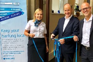 Photo, from left: Cheryl Chappell, Branch Manager Pickering, Kevin Hollinrake MP and Jon Clowes, Barclays Local Director.