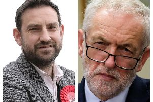 Local Parliamentary candidate Hugo Fearnley (left) and Labour leader Jeremy Corbyn.