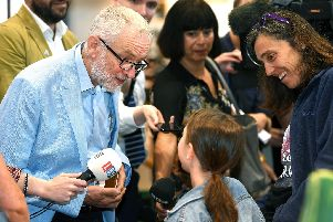 Labour leader Jeremy Corbyn at Scarborough Market Hall.