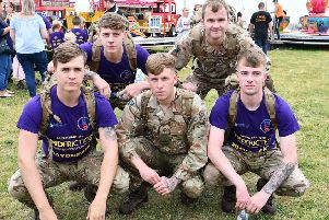 A group of soldiers from the 1st Yorkshire Regiment participating in the 2019 Miles for Men held at the Clock Tower, Seaton Carew. Picture by Frank Reid