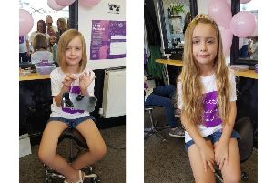 Isobel before and after her haircut for Little Princess Trust