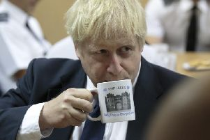 Boris Johnson at HMP Leeds. Pic: Getty