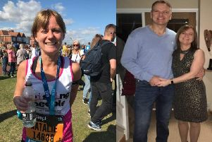 Left: Natalie after completing the Great North Run. Right: Pictured with her husband Peter Brown