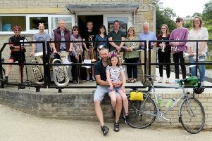 Members of Kirkbymoorside Town Brass Band outside the new concert hall.
