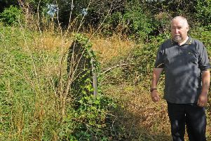 Peter Yates in St Thomas' Church graveyard, where the grave of World War One soldier James Dickinson is among the overgrown weeds and bushes.