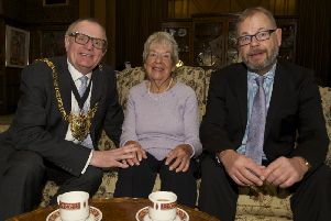 Lord mayor of Sheffield Cllr Peter Rippon meets the family of war hero Arnold Loosemore who was award a VC for bravery.'Cllr Rippon takes tea in the Mayors Parlour with Audrey and Kevin Loosemore'. Pic: Dean Atkins