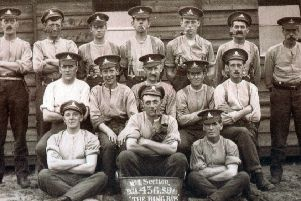 Harry Arnold, middle back row'Lydd, Kent, August 1917 'World War 1'''Submitted by John Arnold''84 Carterknowle Road, S7 2DZ