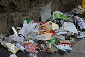 Large piles of litter are gathering on Firth Park Road, Sheffield. Picture: Marie Caley NSST Litter MC 2