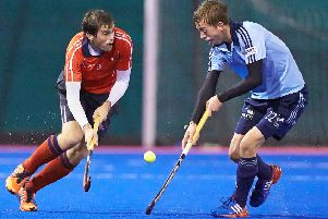 Hallam's Martin Sutherland goes on a run in the second half vs Reading Hockey Club