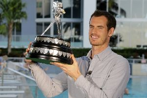 Andy Murray with the trophy after winning the 2016 Sports Personality of the Year Award at The Conrad Miami Hotel, Miami. Photo: Alberto Tamargo/BBC/PA Wire.