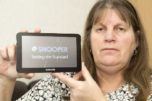 Jill Wolstenholme from Sheffield with the broken Snooper Sat Nav they wont repair after the mounting system failed