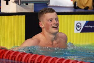 Adam Peaty smiles after winning the Men's 100 metre Breast stroke final during day one of the 2017 British Swimming Championships at Ponds Forge, Sheffield