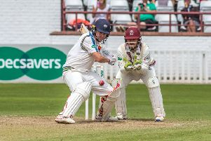 Yorkshire captain Gary Ballance watches the ball carefully during an innings of 98 not out against Somerset at Taunton yesterday (Picture: John Heald).