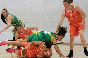 Down but not out: Sheffield Hatters' Helen Naylor on the floor in the club's narrow win over old rivals Nottingham Wildcats. Photo: Chris Etchells