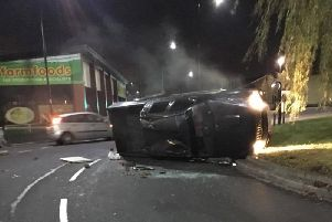 The car on its side.