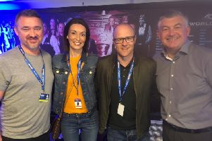 Eilish Jennings and partner Simon at the Crucible with John Parrott and Stephen Hendry