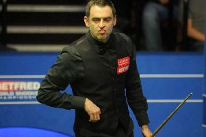 Ronnie O' Sullivan during his match against Ali Carter during day eight of the 2018 Betfred World Championship at The Crucible, Sheffield. PRESS ASSOCIATION Photo.