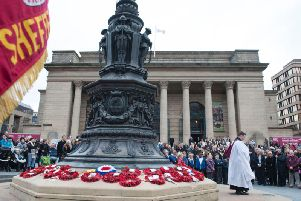 A crowd gathered in Sheffield for a Remembrance Day ceremony at Barkers Pool