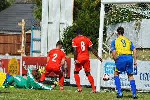 Bamber Bridge scrambled the ball clear to thwart another Stocksbridge attack. Gillian Handisides