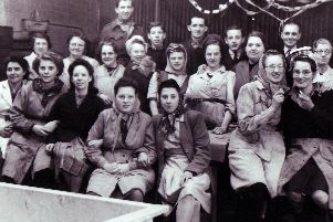 Burdall's bottling alley staff at Christmas in the 1940s