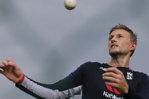 England's Joe Root tosses a ball during a practice session ahead of their second one-day international cricket match with Sri Lanka in Dambulla, Sri Lanka,