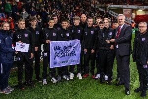 AFC Dronfield's U16s with Dave McCarthy, second right