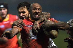 Sheffield Eagles' Menzie Yere in action against Toulouse. Picture: Andrew Roe.