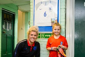Chelsea and England women's international, Millie Bright returns to her old school to meet pupils. Photo: Ryan Browne