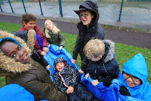 Forest School activities in the playground. Pictures Chris Etchells