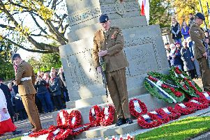 Remembrance Sunday at Doncaster Cenotaph war memorial. Picture: Marie Caley NDFP Remembrance Bennetthorpe MC 1