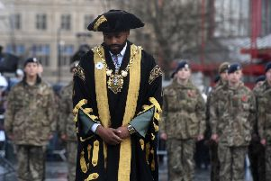 Lord Mayor of Sheffield, Councillor Magid Magid, wearing a white poppy at the remembrance parade at Barkers Pool, Sheffield on Sunday, November 11, 2018.