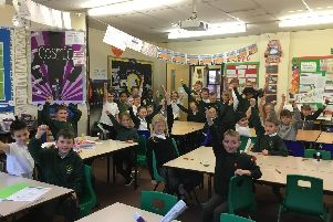 Year five pupils at Greengate Lane Academy, in High Green celebrate the Ofsted report