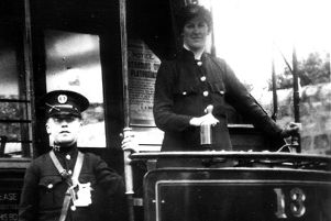 A motorwoman at the helm of car no 13, one of many women tram drivers in Doncaster during World War One