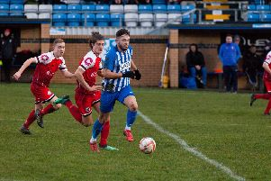 Action from Hallam v Grimsby Borough. Photo: www.focussingonphotography.co.uk