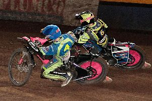 Josh Bates races inside Leicester's Cameron Heeps. Pic by Andy Garner